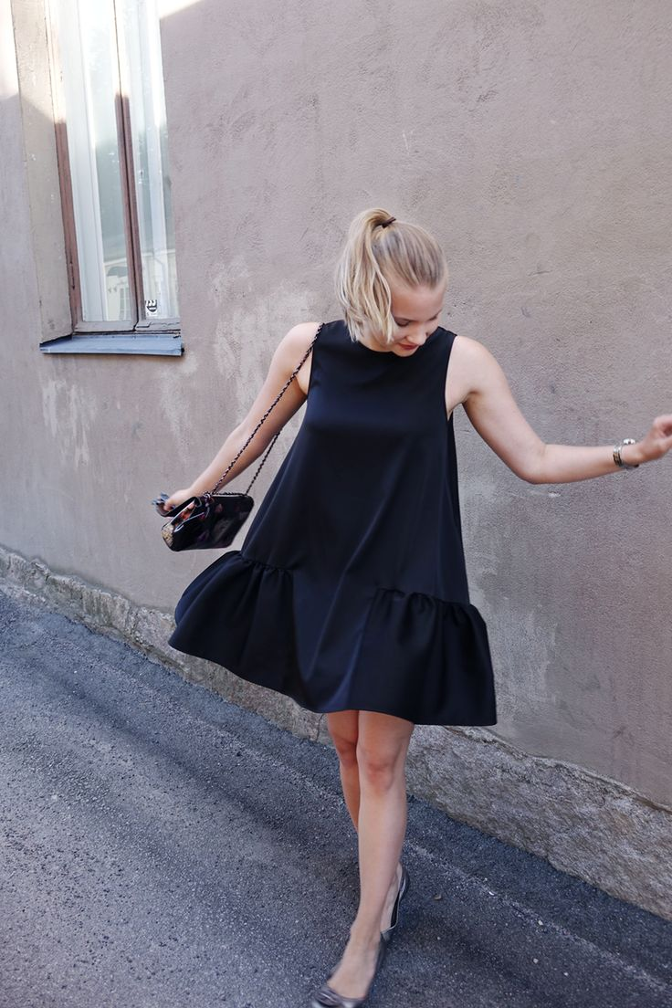 Pairing Tory Burch ballet flat, By Malene Birger cat-eye sunglasses, and Mulberry Lily purse with a satin, black peplum hem dress for a modern Audrey Hepburn Breakfast at Tiffany's look. More on my blog! :>
