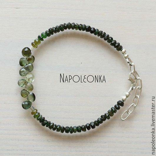 зеленый турмалин, купить браслет в Москве, женский браслет, натуральный турмалин, турмалиновый браслет, браслет камни серебро, серебряный браслет, тонкий браслет, подарок девушке, купить браслет