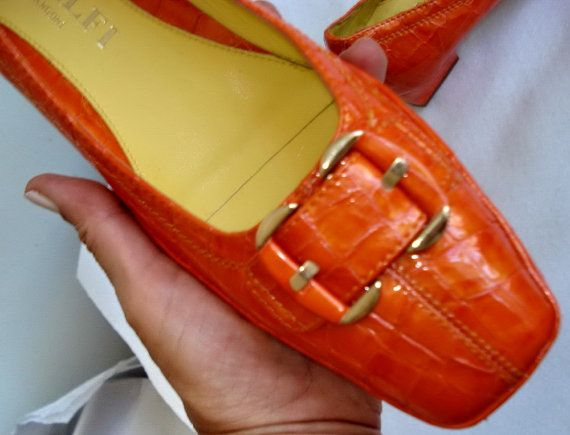 GORGEOUS Amalfi Rangoni 7.5 Unused! New Old Retro Gogo Croc Alligator Leather MOd Orange Low Heel Buckle Pump SHOES italy Designer by MushkaVintage3