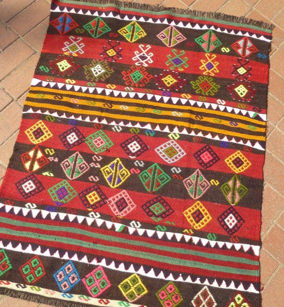 Vintage Home Rug: Striped Ethnic Kilim Rug Small Decorative Kilim Carpet
