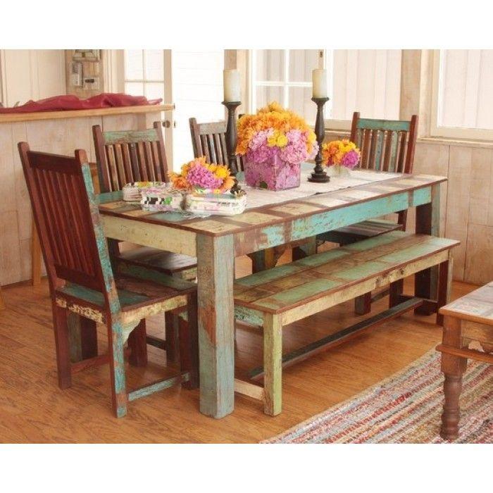 Reclaimed Wood Dining Set Buy From Tara Design Los Angeles CA