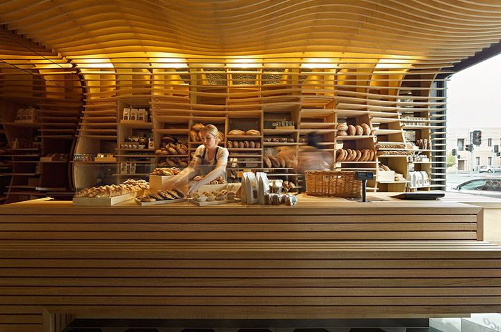 Chirico Bakery, Australia. Interior design by March Studio.  Wow!  Too many shelves for me but love the wow factor!