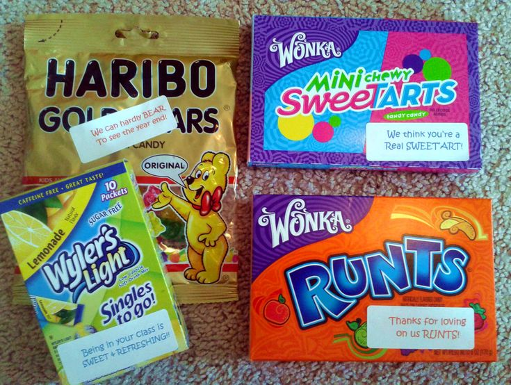 teacher goody bags / sayings for candies