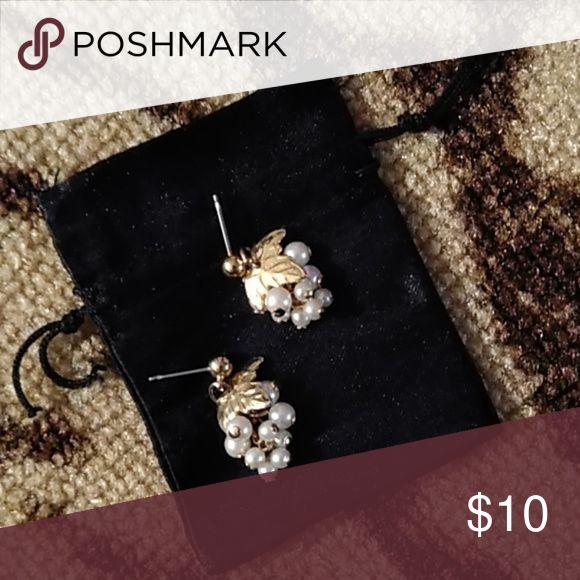 Vintage Bunch Of Grapes Pearl Earrings Vintage Earrings