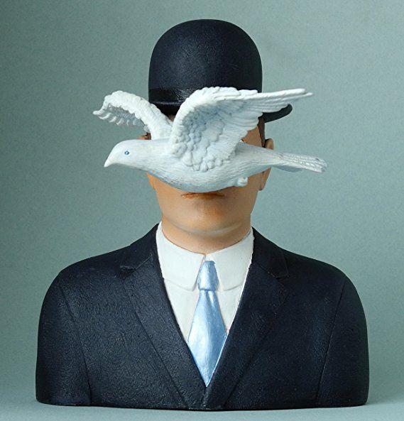 Parastone Magritte Man with Bowler Hat and Dove LHomme au Chapeau Melon Statue 6H