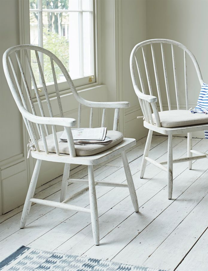 Loaf's Bleaker hoop-backed chairs with natural linen seat pads