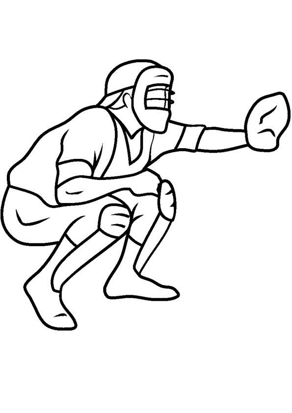 Catcher Of Base Ball Coloring Page Sports Coloring Pages Coloring Pages Baseball Coloring Pages