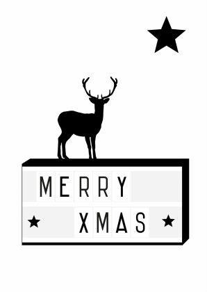 Hippe zwart/wit kerstkaart met Lightbox en sterren, verkrijgbaar bij #kaartje2go voor €0,99