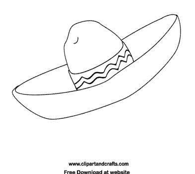 Coloring page of sombrero Mexican hat, printable fiesta line drawing or digital stamp. Description from pinterest.com. I searched for this on bing.com/images
