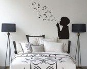 Boy Blowing Music Notes Wall Decal Sticker Bubbles Nursery Kid Room Girl Baby. $34.00, via Etsy.