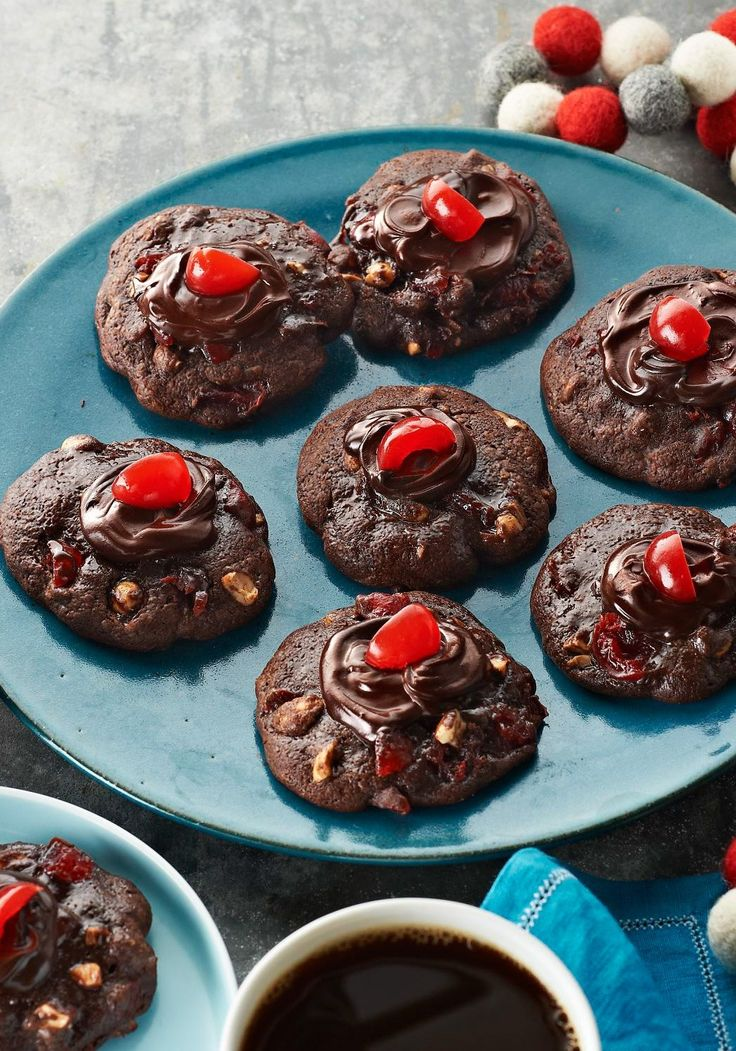 Cherry-Chocolate Volcano Cookies – These Cherry-Chocolate Volcano Cookies feature a buttery mix of chocolate and maraschino cherry liquid where the lava would normally be.