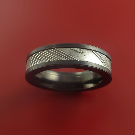 Black Zirconium and Damascus Steel Band by StonebrookJewelry