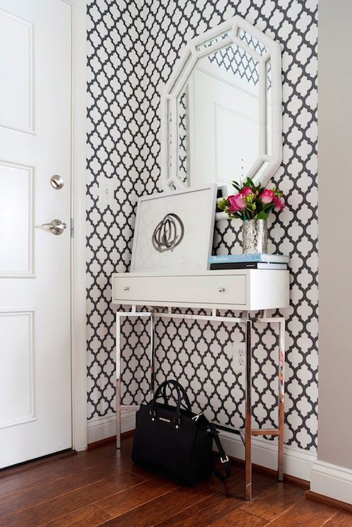 JWS Interiors - entrances/foyers - trellis wallpaper, moroccan trellis wallpaper, moorish tile wallpaper, black and white wallpaper, black a...