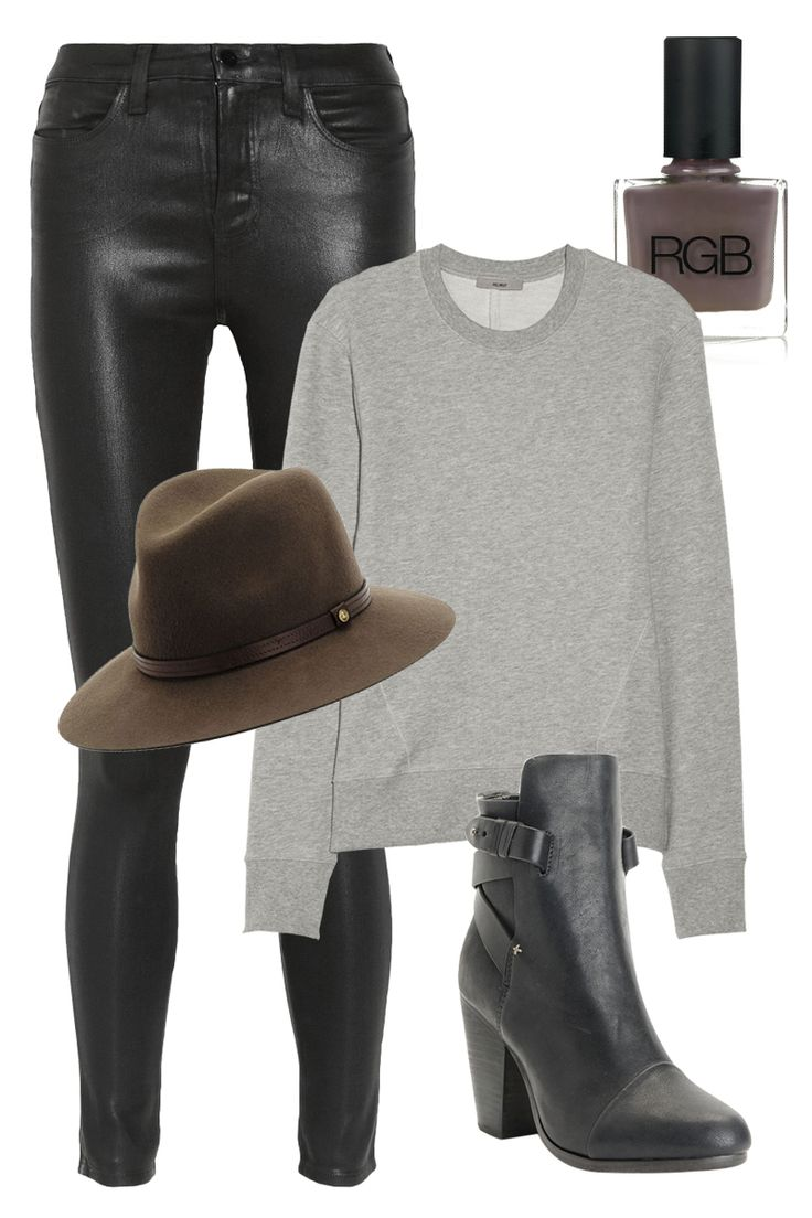 The perfect outfit for a fall shopping day with your BFFs: gray sweatshirt, leather jeans, and a fun fall hat.