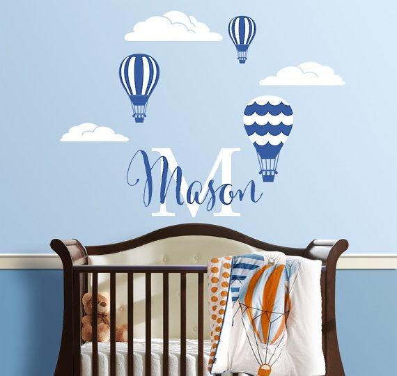 Hot air balloons personalized name custom initial vinyl wall decal sticker for nursery boys room or playroom