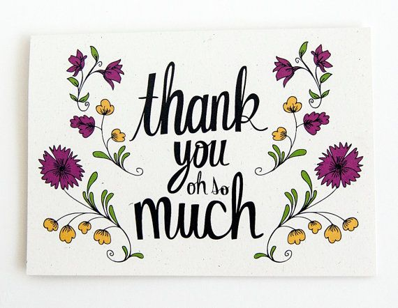 thank you card. vintage floral. hand drawn typography. by katievaz, $4.00
