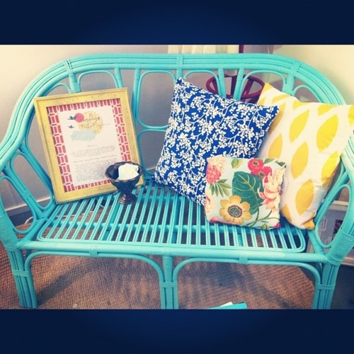 Two seater turquoise cane sofa. #diy #furniture #vintage