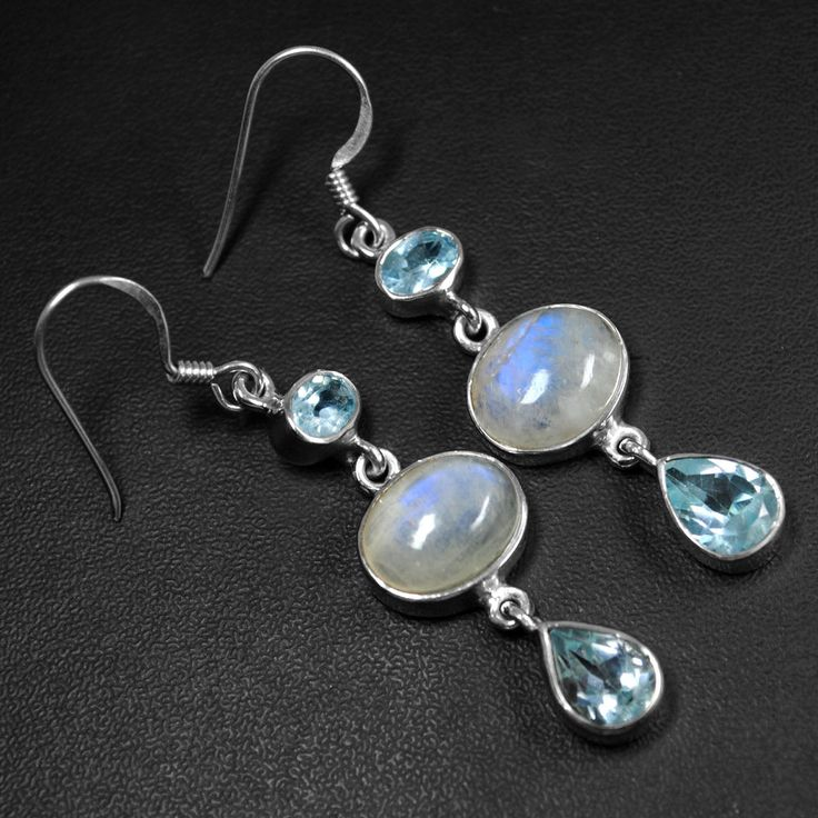 6.64 Gm 925 Sterling Silver Blue Topaz Moonstone Girls Earrings Pair Top Jewelry #Unbranded