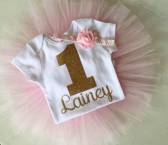 Blush pink and gold glitter girl's first birthday outfit with name, by PaisleyPrintsSpokane. www.paisleypritnsspokane.etsy.com