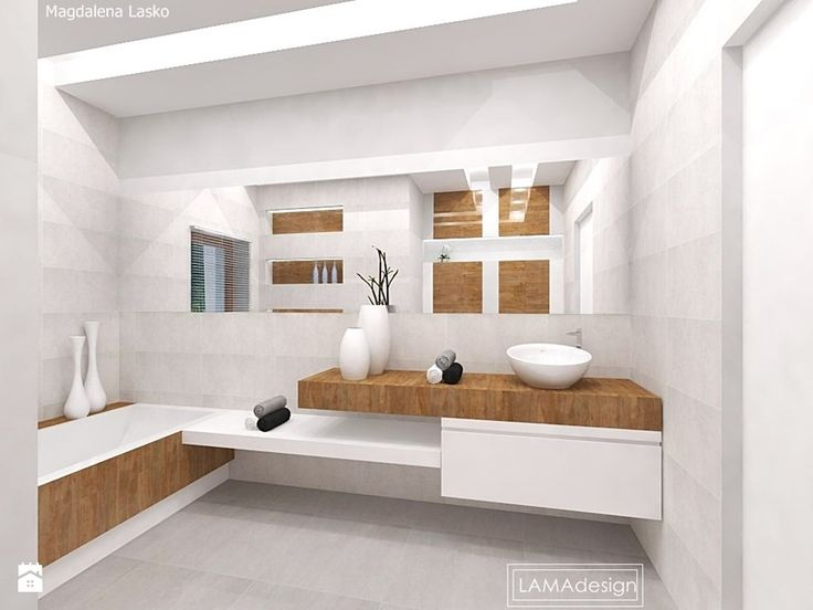 Łazienka biel i drewno - zdjęcie od LAMAdesign