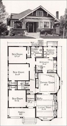 Plan No. R-856 c 1918 Cottage House Plan by A. E. Stillwell - vintage bungalows plans | Transitional Bungalow Floor Plan -
