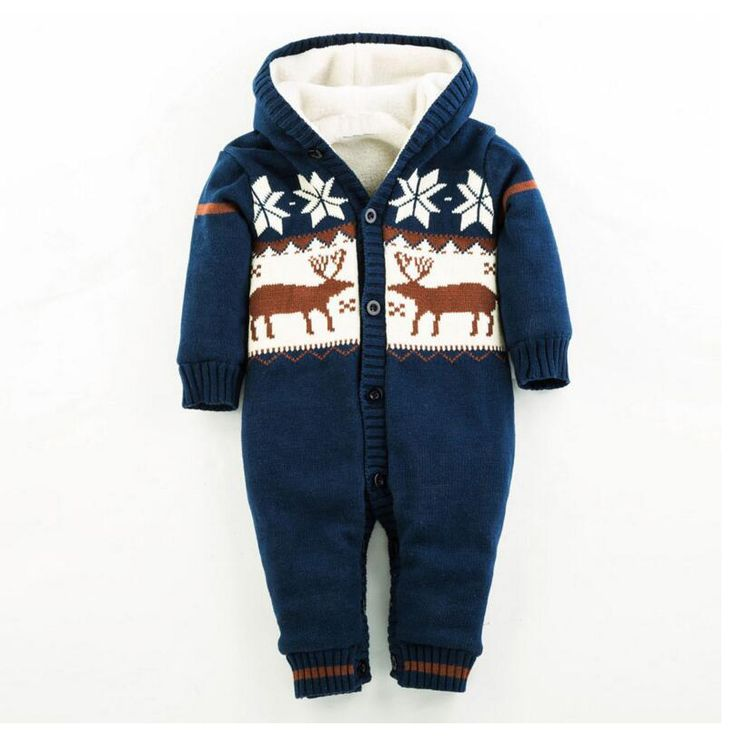 Baby Rompers Winter Thicken Climbing Clothes Newborn Boy Girl Romper Knitted Sweater Christmas Hooded Outwear Jumpsuit