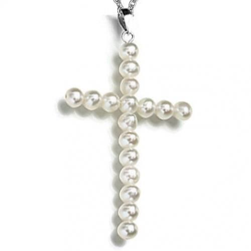 Bling Jewelry Sterling Silver Freshwater Pearl Cross Necklace 18in