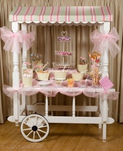 pink candy shoppe / candy party, candy cart dessert table