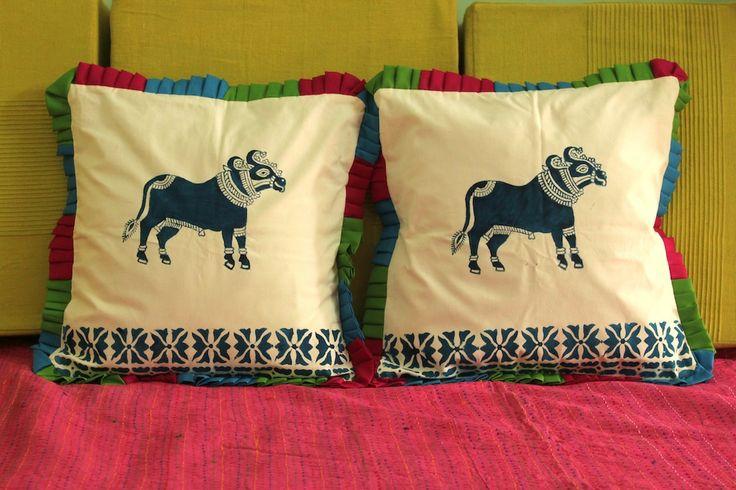 Blue Cow Cushion Covers