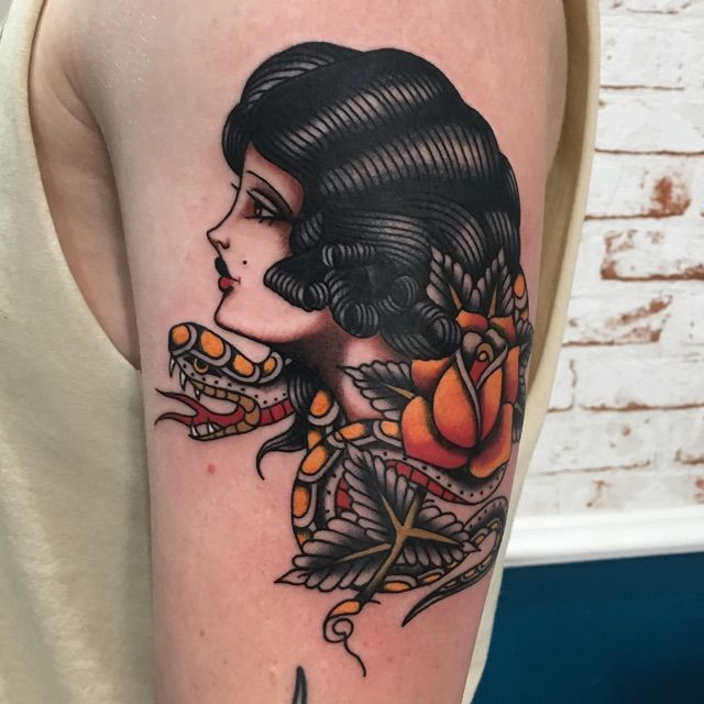 Snake lady done by Aaron Hingston @ Hen's Teeth Tattoo VIC AUS.