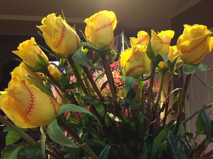 Softball roses. We did these for our Mother's Day tournament. Use a thin red sharpie to draw the laces.