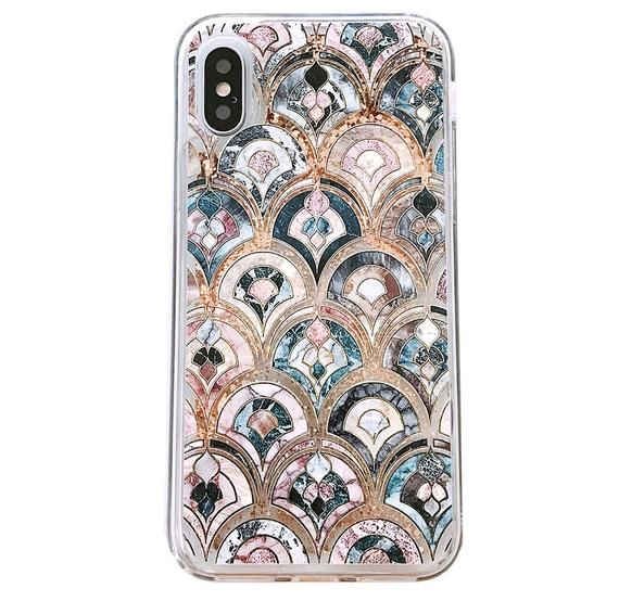 Mermaid scales. Black and white watercolor. iPhone 11 case