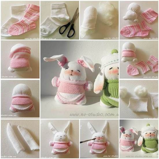 These bunnies are so cute. They maybe are better and cheaper than what are sold in stores. You can make them with some easy steps in the pictures below. They are great gifts for little kids. Instructions –  Translated Version