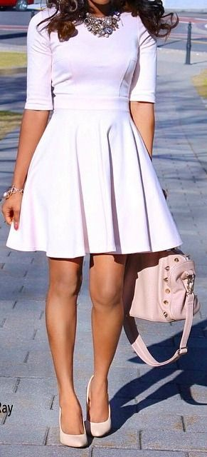 Take a plane dress, add a bold necklace and heels you can