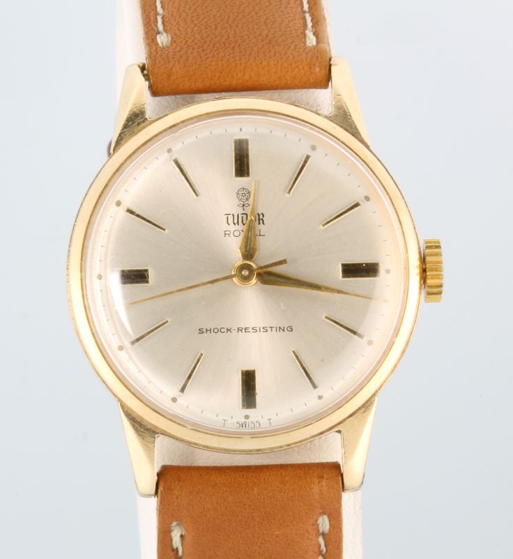 Lot 600, A gentleman's 9ct yellow gold Tudor Royal wristwatch on a leather strap complete with a Rolex velvet bag, est  £250 - 300