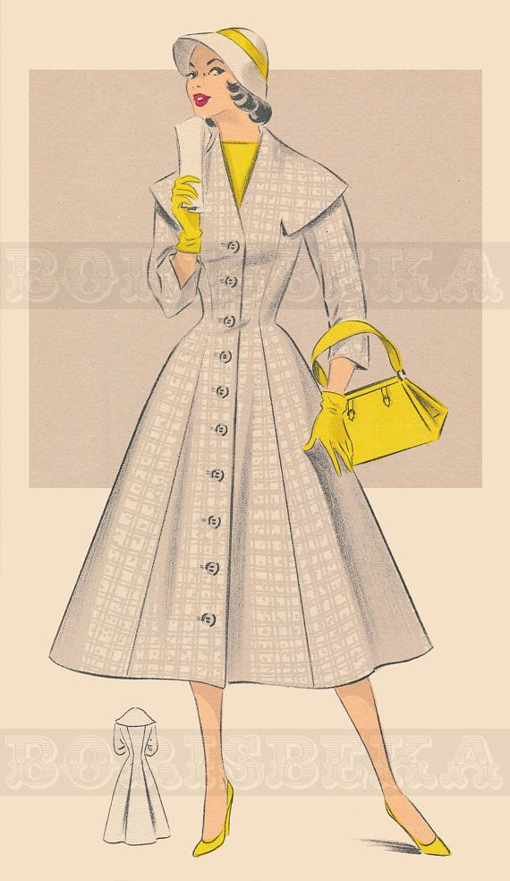 vintage French COAT sewing pattern 50s PDF by borisbeka on Etsy