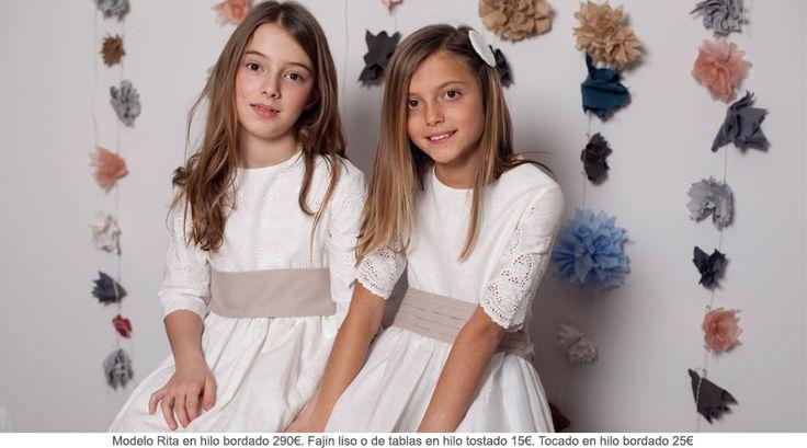 En Quemono tenemos los mejores trajes de comunión y al mejor precio. ¿Que os parece estos vestido de comunión en hilo bordado con estos fajines en color tostado? Pero que guapas que están! http://www.quemono.org/la-coleccion-vestidos-comunion-trajes-fiesta/vestidos-comunion/