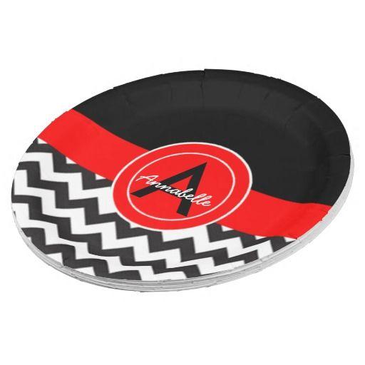 Black Red Chevron Paper Plate