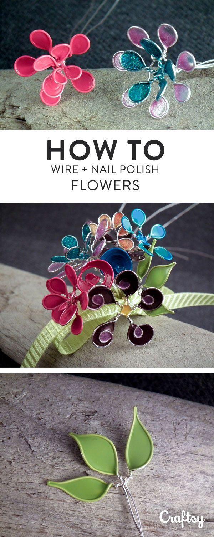 Nagellack + Draht = Erstaunlicher Blumenschmuck! – Malen und basteln mit Kindern