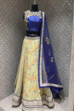 Perfect Navy Blue and Cream Silk Net Designer Readymade Lehenga Choli