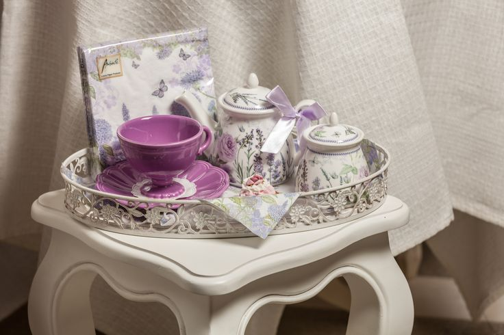 A discrete tray holding Beautiful Purple tea sets combined with Royal TeaCup and Lavender&Rose pieces!