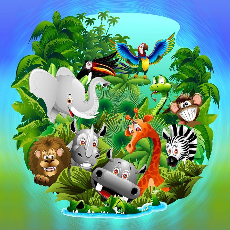 #Cute #Poster for #Kid's #Room! by #BluedarkArt - on #Crated #Art #Gallery -  #Wild #Animals #Cartoon on #Jungle   https://crated.com/BluedarkArt