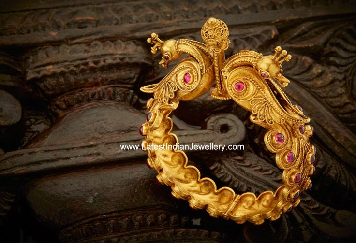 Peacock Design Antique Gold Kada