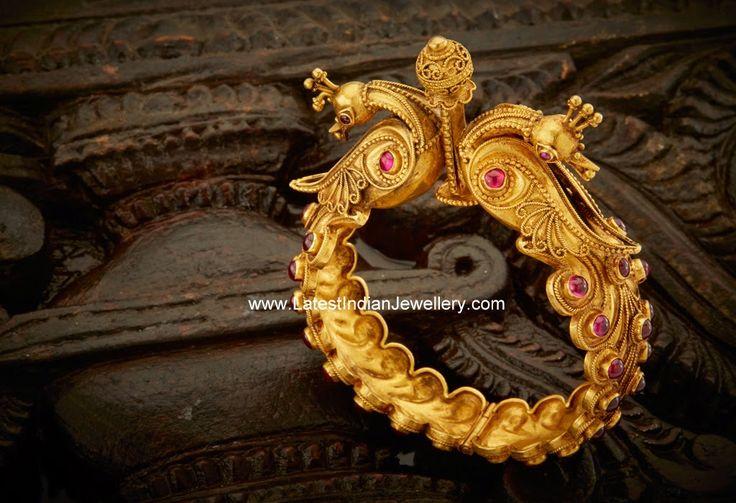 Peacock Design Antique Gold Kada