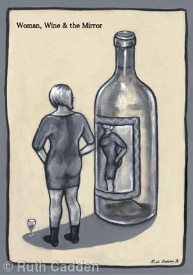 Woman, Wine and the Mirror - Giclee Print