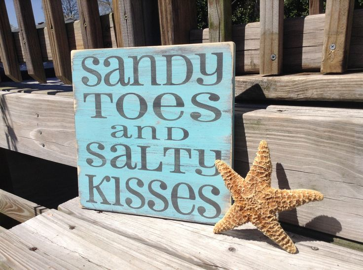 Sandy Toes and Salty Kisses Beach Sign nautical Coastal Nursery Decor by justbeachyshop on Etsy https://www.etsy.com/listing/128227563/sandy-toes-and-salty-kisses-beach-sign