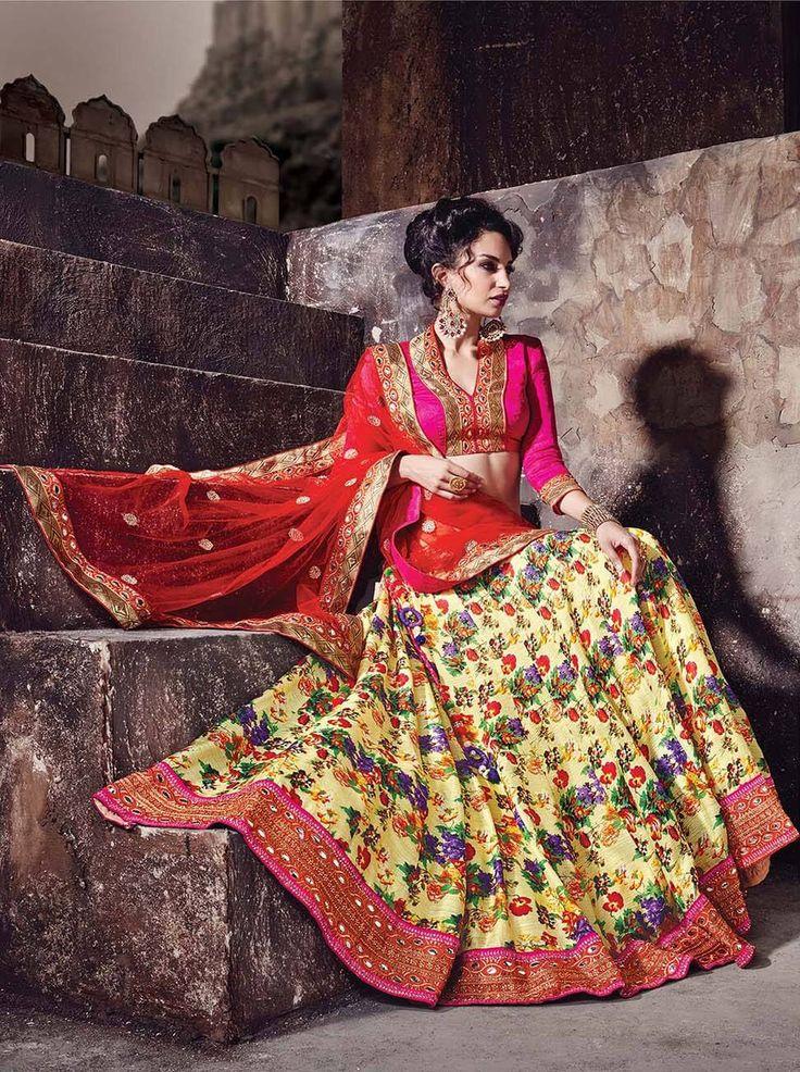 Yellow & Pink digital print lehenga choli for wedding and daytime functions.