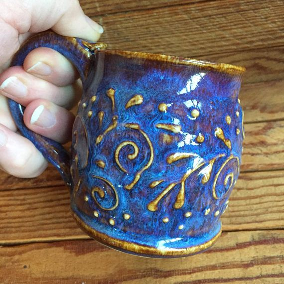 Purple Pottery Mug Small Coffee Cup Small Wheel Thrown Mug