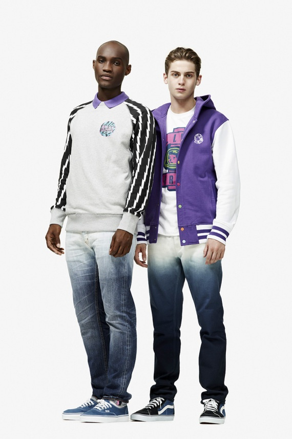 Billionaire Boys Club 2013 Spring Lookbook. What do you think of the Washed Denim look? #fashion #mens #womens Of this look - I don't think I would wear any of it but I do like the Sweatshirt with the black and white sleeves.