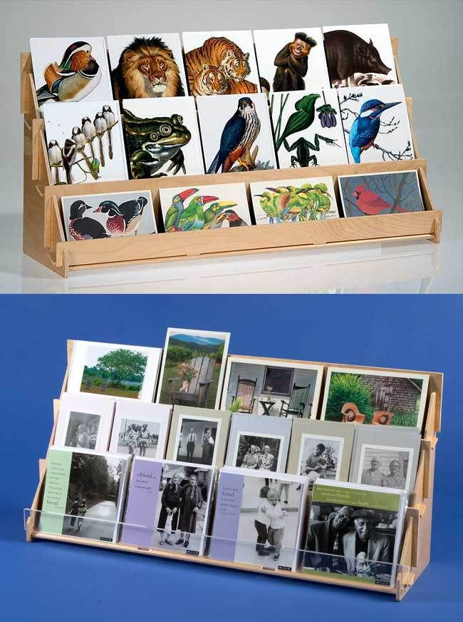 This compact card display is great in shops and booths where space is limited. Perfect for tables and countertops for greeting cards and postcards. Quality rack ships flat and slides together in minutes with no tools.